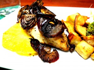 Pineapple Smoked Chicken Recipe with Balsamic Onion Rings